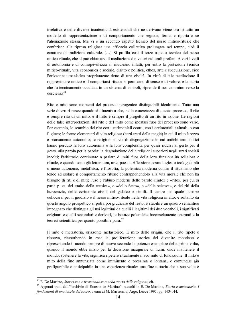 Anteprima della tesi: Ernesto de Martino e l'esorcismo culturale: dal simbolo mitico-rituale all'umanesimo integrale, Pagina 14