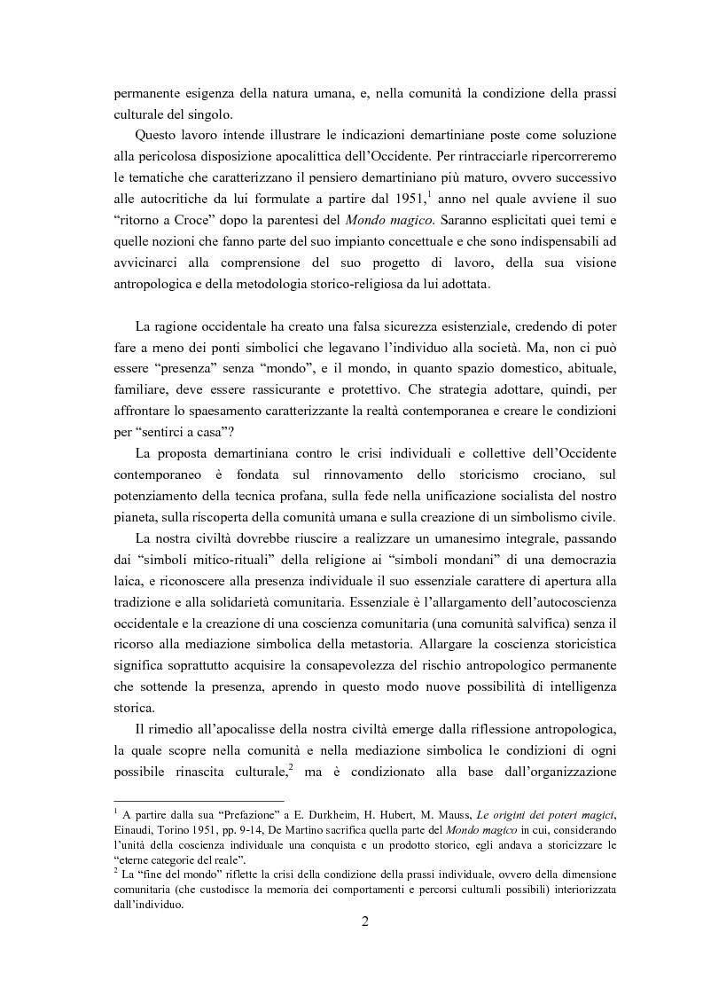Anteprima della tesi: Ernesto de Martino e l'esorcismo culturale: dal simbolo mitico-rituale all'umanesimo integrale, Pagina 2
