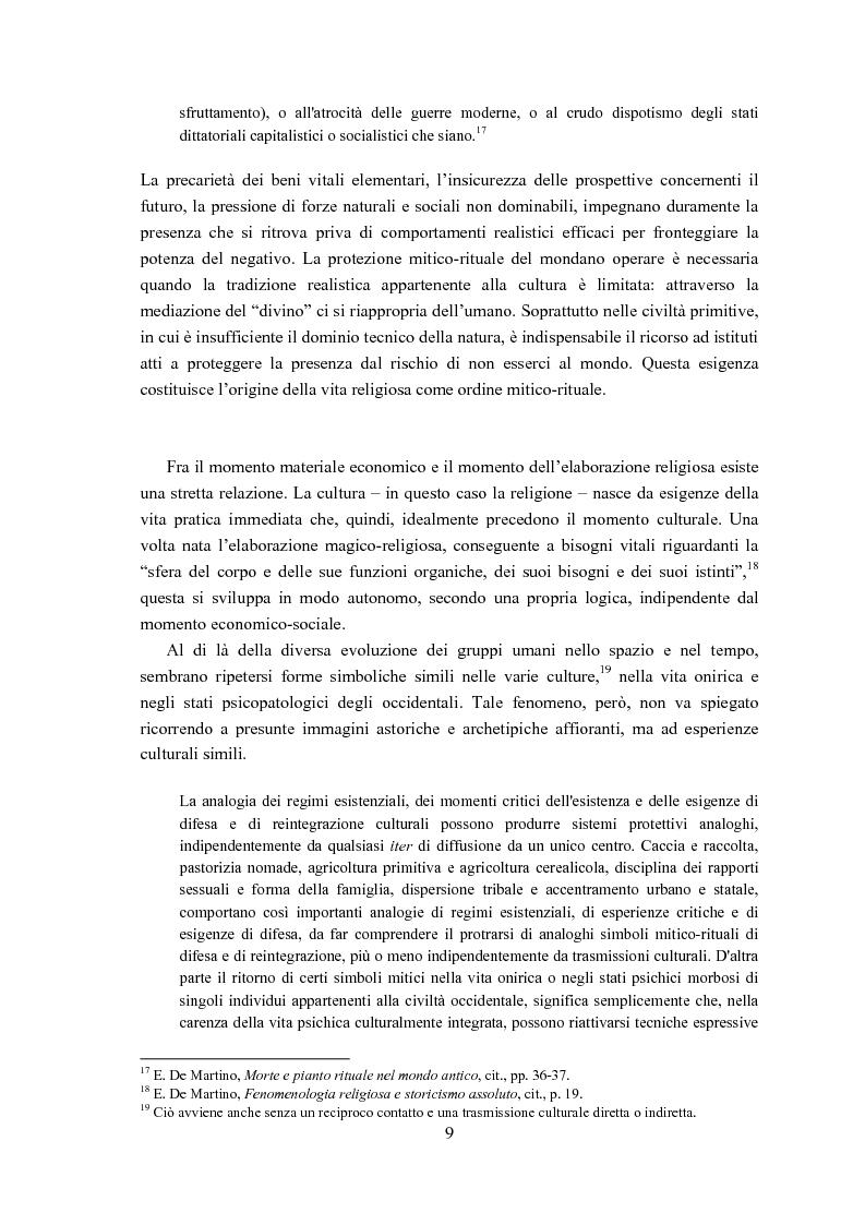 Anteprima della tesi: Ernesto de Martino e l'esorcismo culturale: dal simbolo mitico-rituale all'umanesimo integrale, Pagina 9