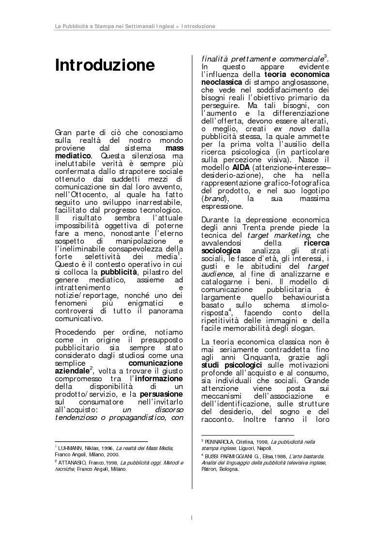 Anteprima della tesi: La pubblicità a Stampa nei Settimanali Inglesi, Pagina 1