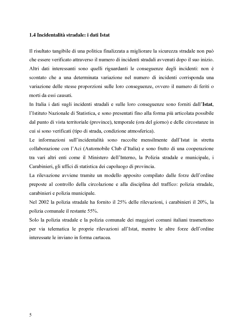 Anteprima della tesi: Patente a punti e incidenti stradali: un'analisi di intervento, Pagina 5