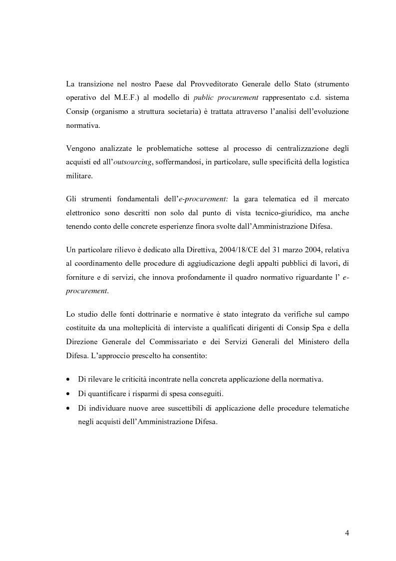 Anteprima della tesi: La centralizzazione degli acquisti e le procedure e-procurement, Pagina 2