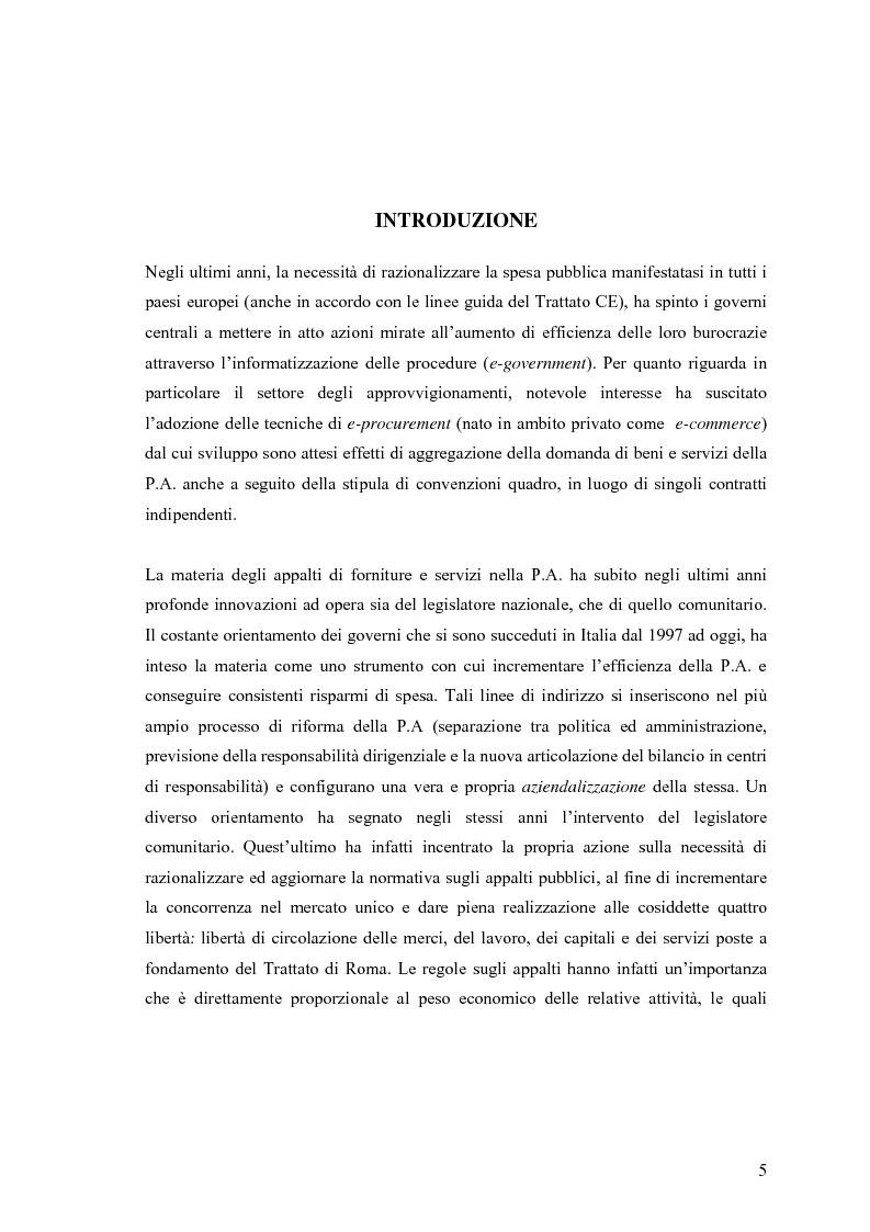 Anteprima della tesi: La centralizzazione degli acquisti e le procedure e-procurement, Pagina 3