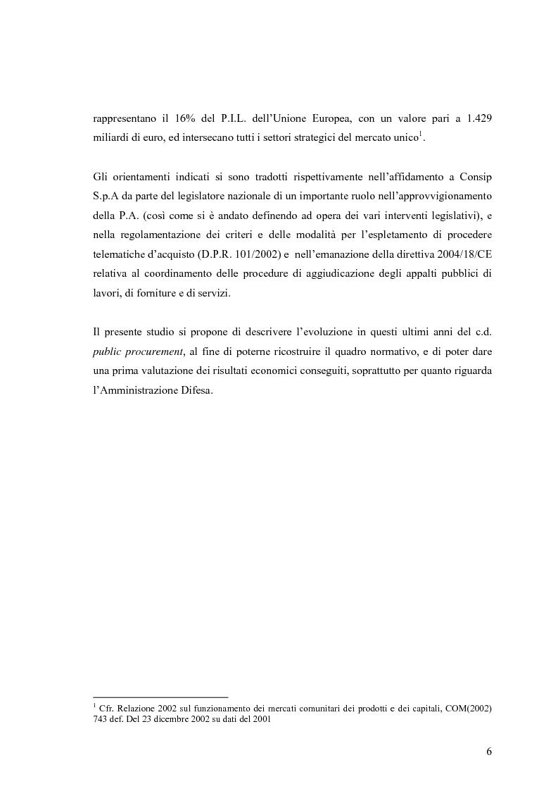 Anteprima della tesi: La centralizzazione degli acquisti e le procedure e-procurement, Pagina 4