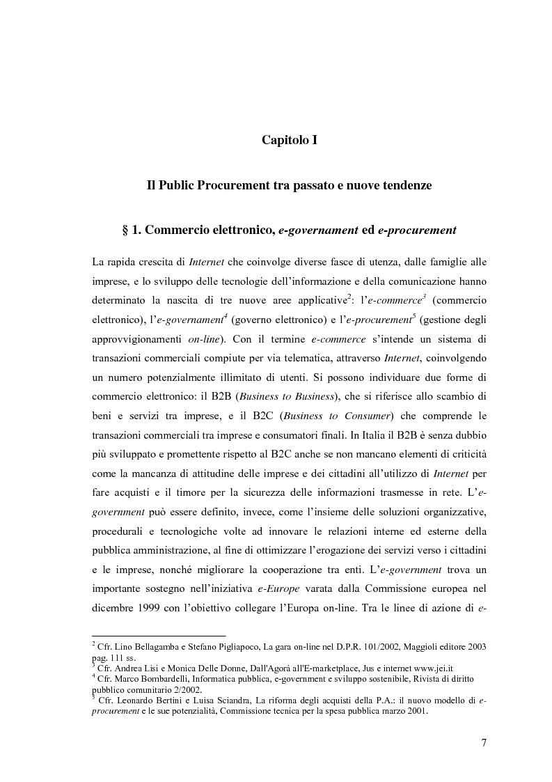 Anteprima della tesi: La centralizzazione degli acquisti e le procedure e-procurement, Pagina 5