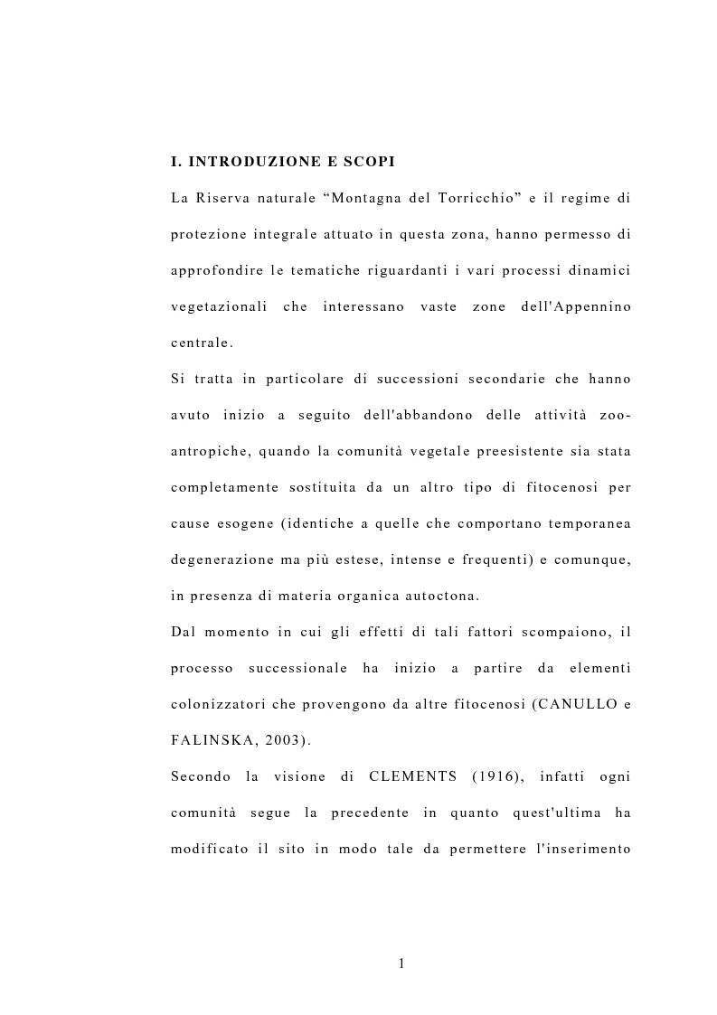 Anteprima della tesi: Processi di popolazione in una fase di colonizzazione a ginepro nei pascoli xerici e abbandonati nella Riserva naturale di Torricchio, Pagina 1