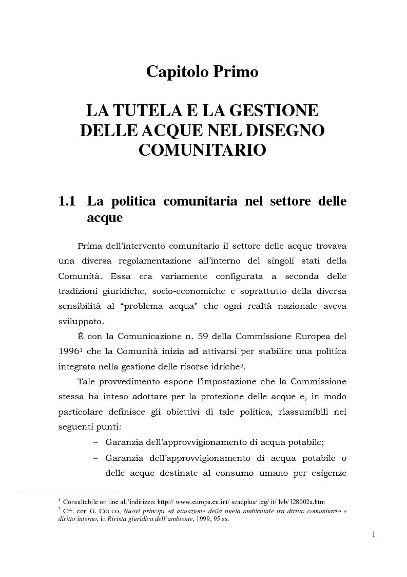 Anteprima della tesi: Acqua. Tutela e gestione nel diritto comunitario e nel diritto interno., Pagina 4