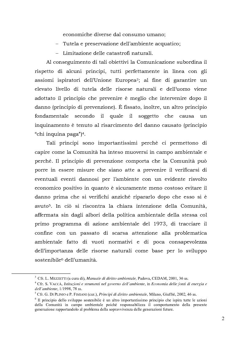 Anteprima della tesi: Acqua. Tutela e gestione nel diritto comunitario e nel diritto interno., Pagina 5
