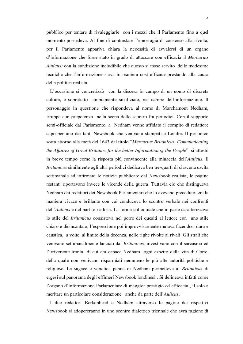 Anteprima della tesi: Mercurius Aulicus e Mercurius Britanicus: Informazione e Propaganda nella Guerra Civile Inglese, Pagina 10