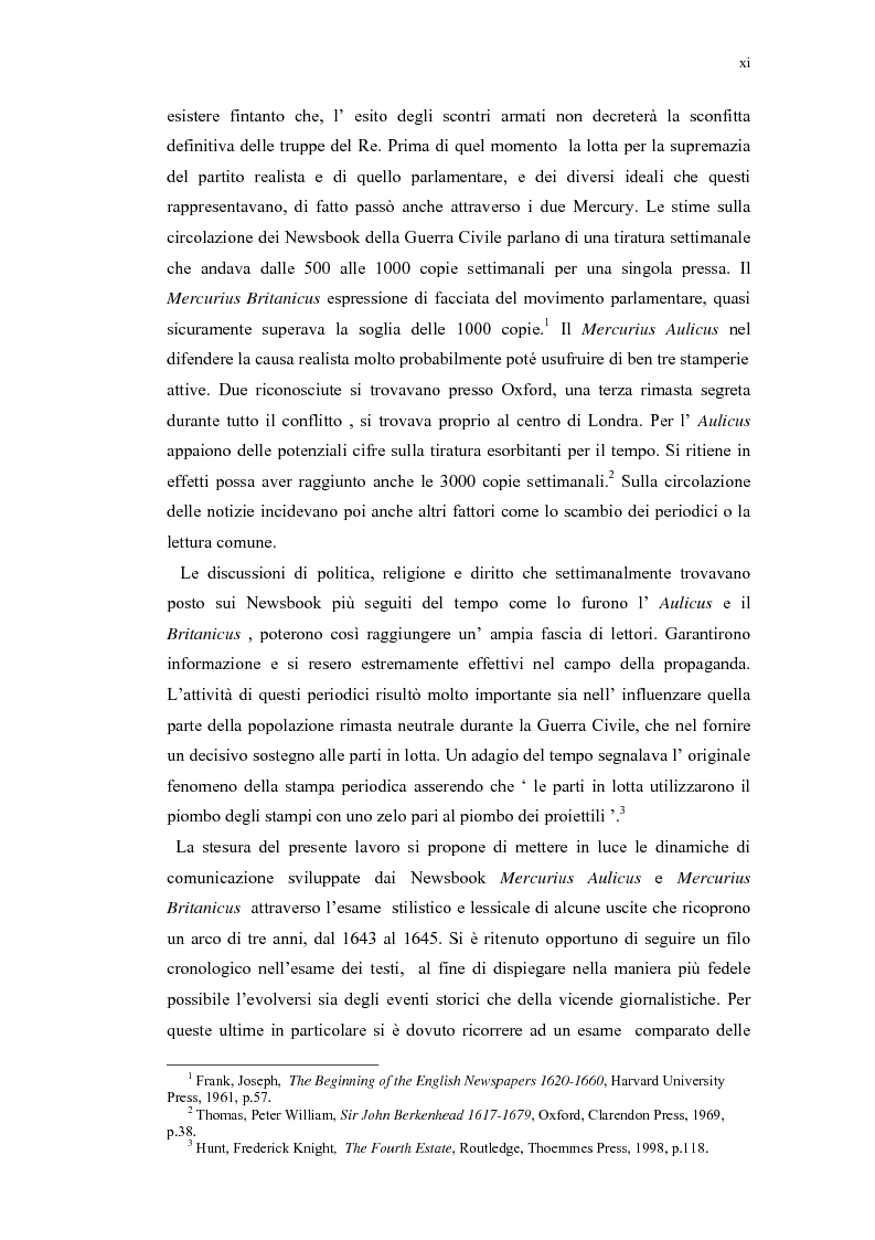 Anteprima della tesi: Mercurius Aulicus e Mercurius Britanicus: Informazione e Propaganda nella Guerra Civile Inglese, Pagina 11