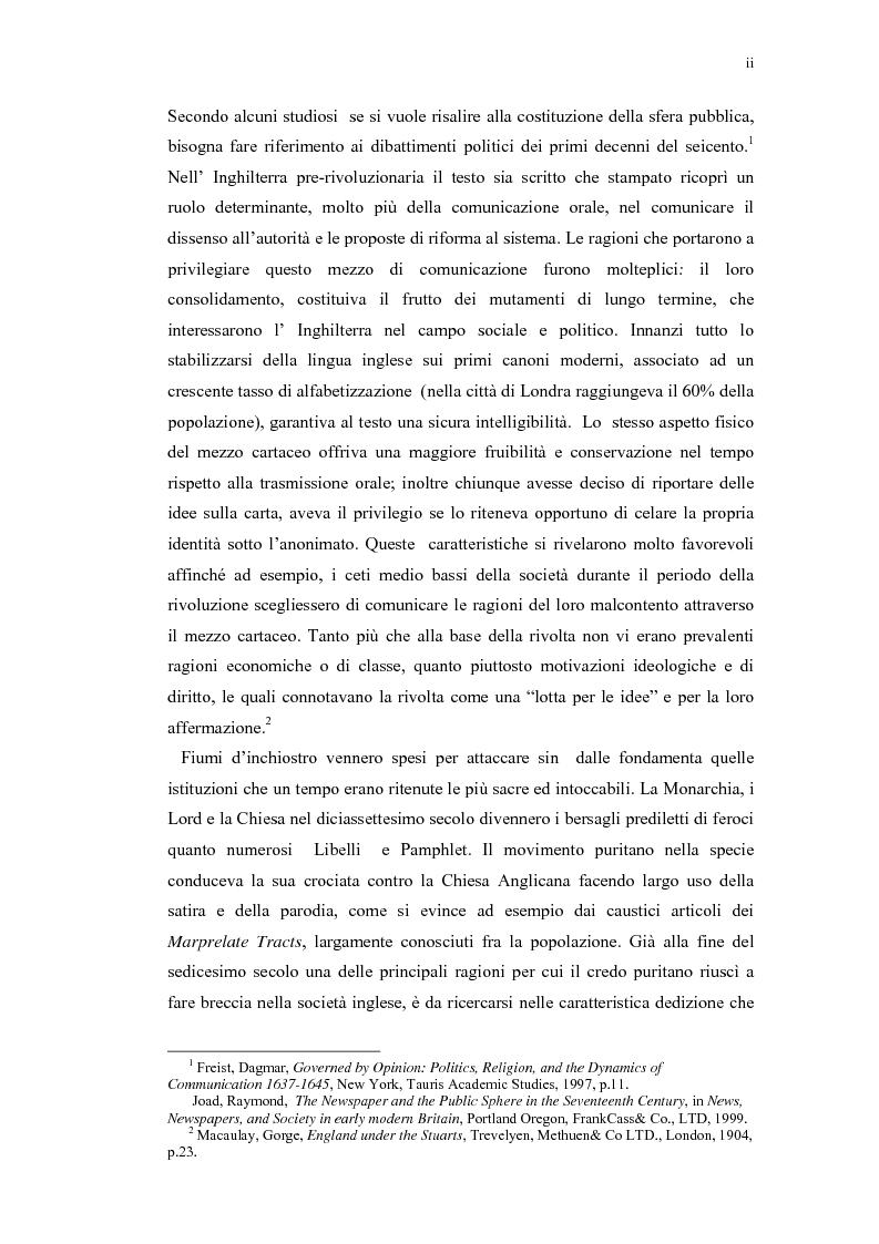 Anteprima della tesi: Mercurius Aulicus e Mercurius Britanicus: Informazione e Propaganda nella Guerra Civile Inglese, Pagina 2