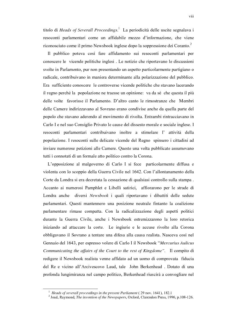 Anteprima della tesi: Mercurius Aulicus e Mercurius Britanicus: Informazione e Propaganda nella Guerra Civile Inglese, Pagina 8