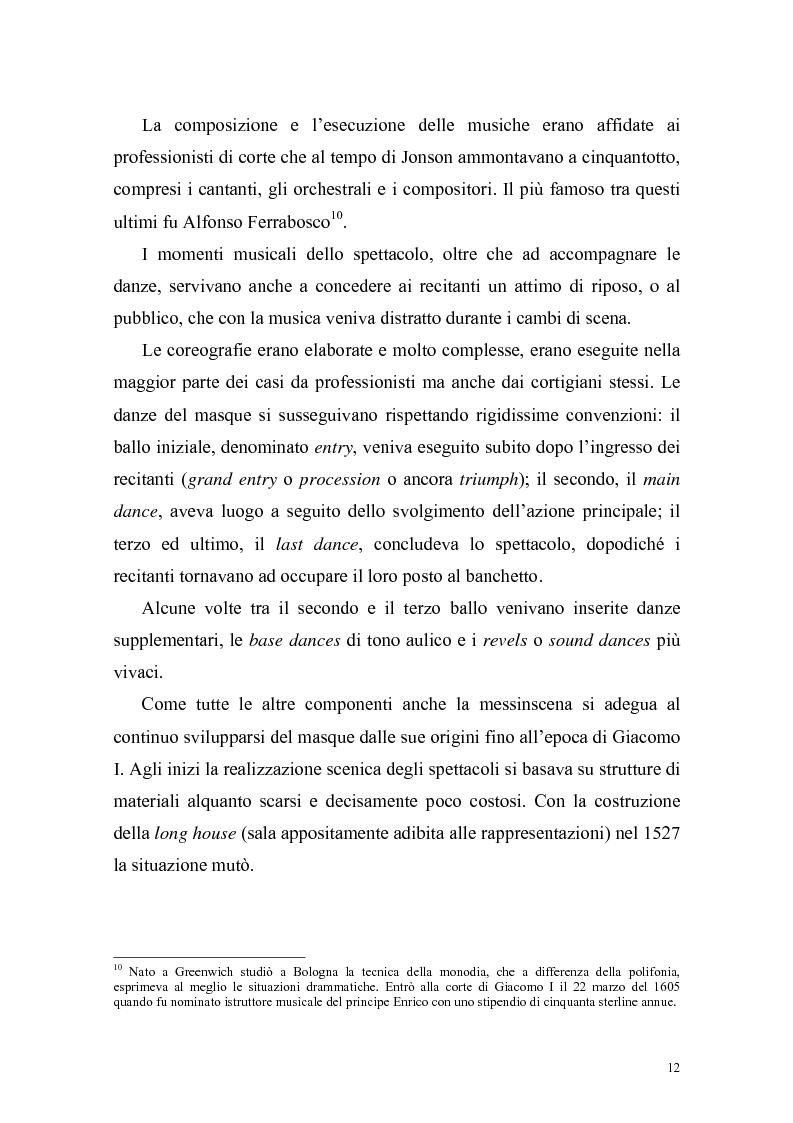 """Anteprima della tesi: """"The Masque of Queens"""" di Ben Jonson, Pagina 11"""