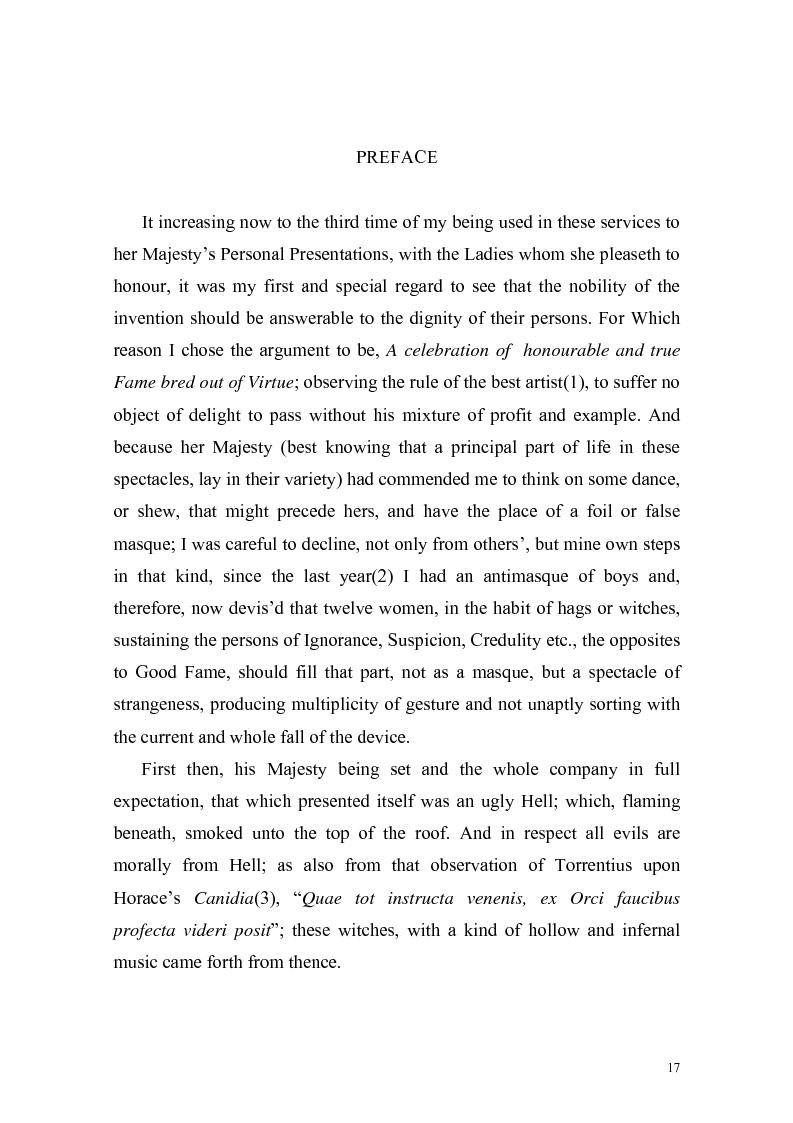 """Anteprima della tesi: """"The Masque of Queens"""" di Ben Jonson, Pagina 14"""