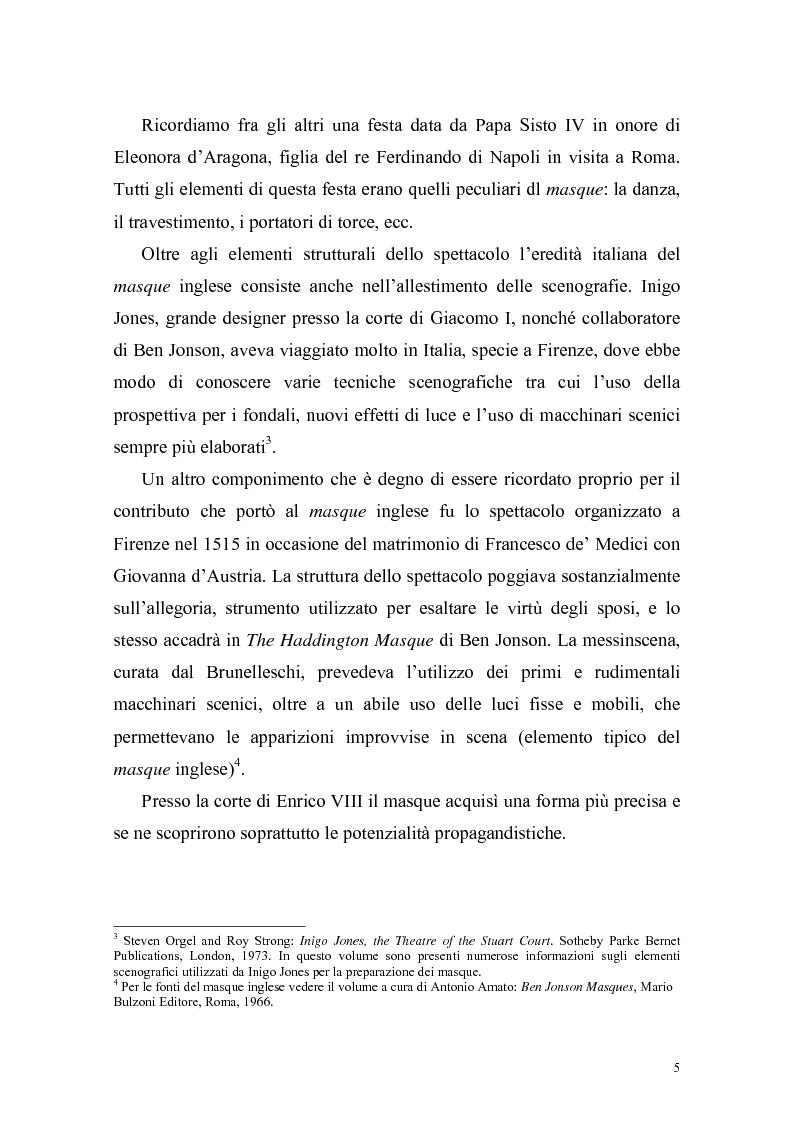 """Anteprima della tesi: """"The Masque of Queens"""" di Ben Jonson, Pagina 4"""