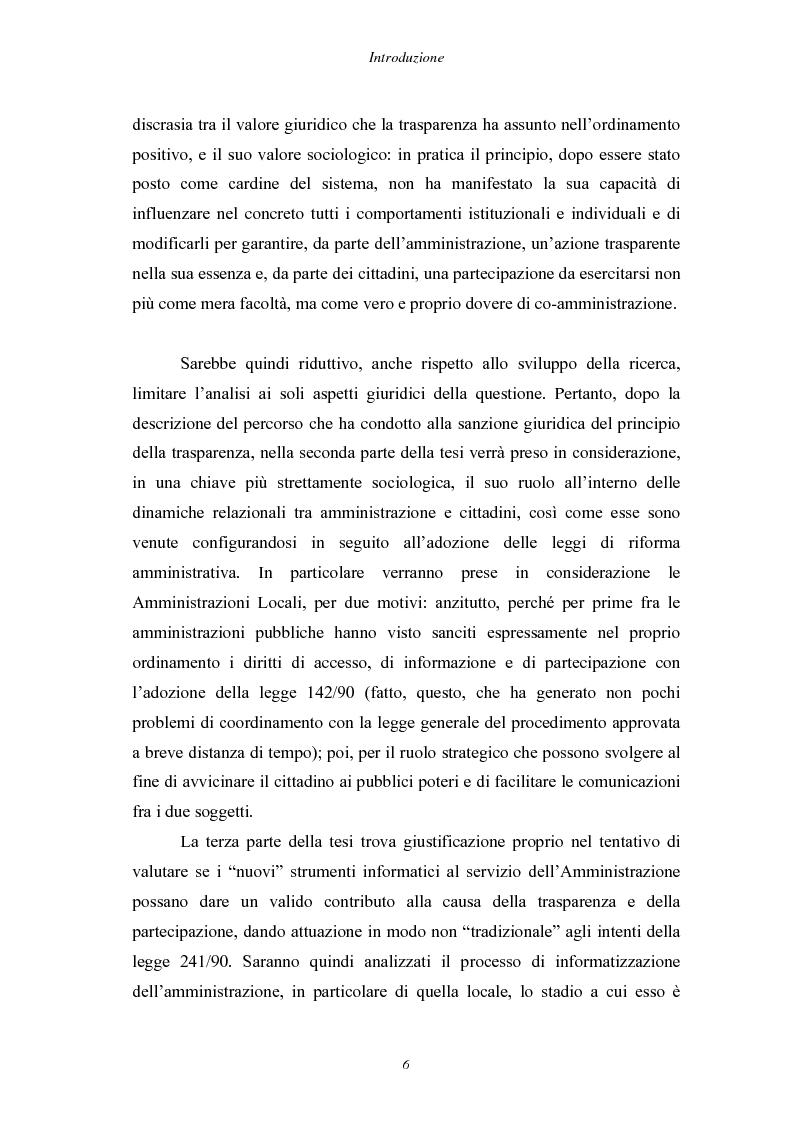 Anteprima della tesi: Trasparenza e informatizzazione nell'Amministrazione Locale, Pagina 6