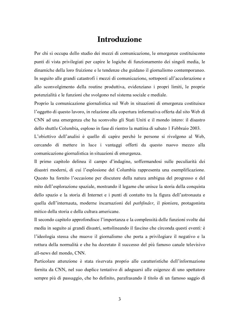 Anteprima della tesi: La comunicazione in Rete nelle emergenze: il caso del disastro dello shuttle Columbia, Pagina 1