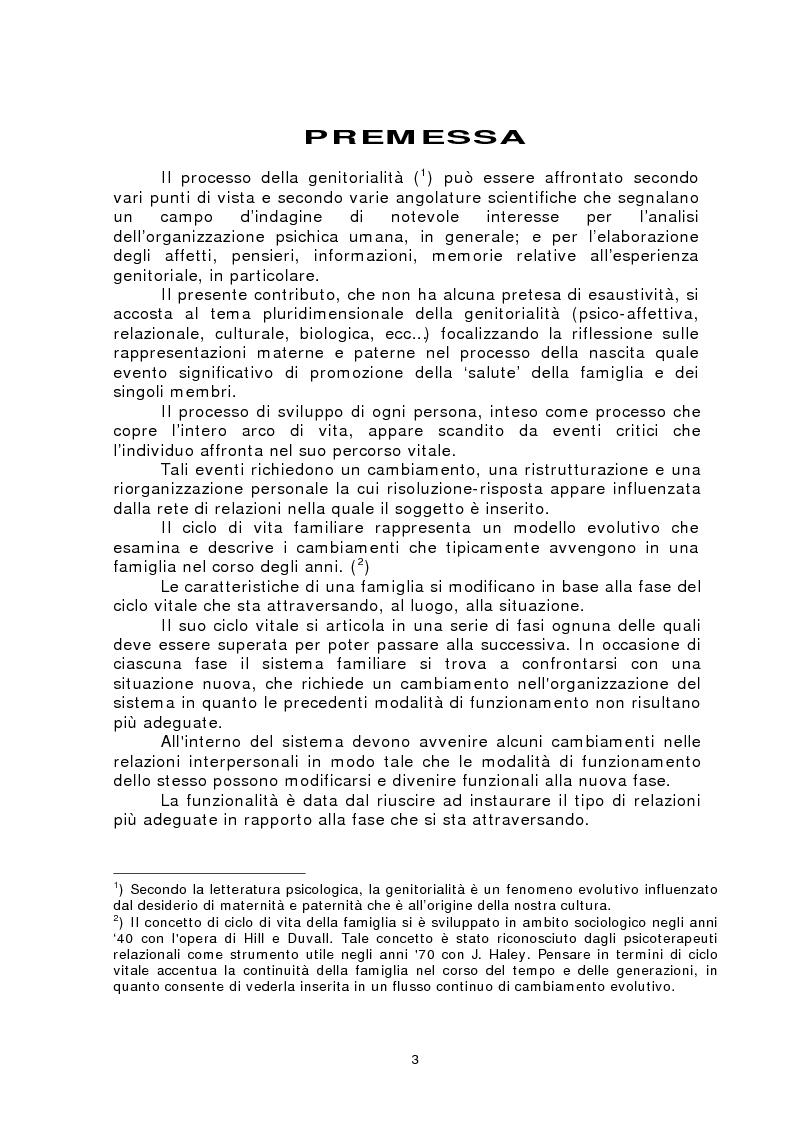 Anteprima della tesi: Rappresentazioni materne e paterne nella genitorialità, Pagina 1