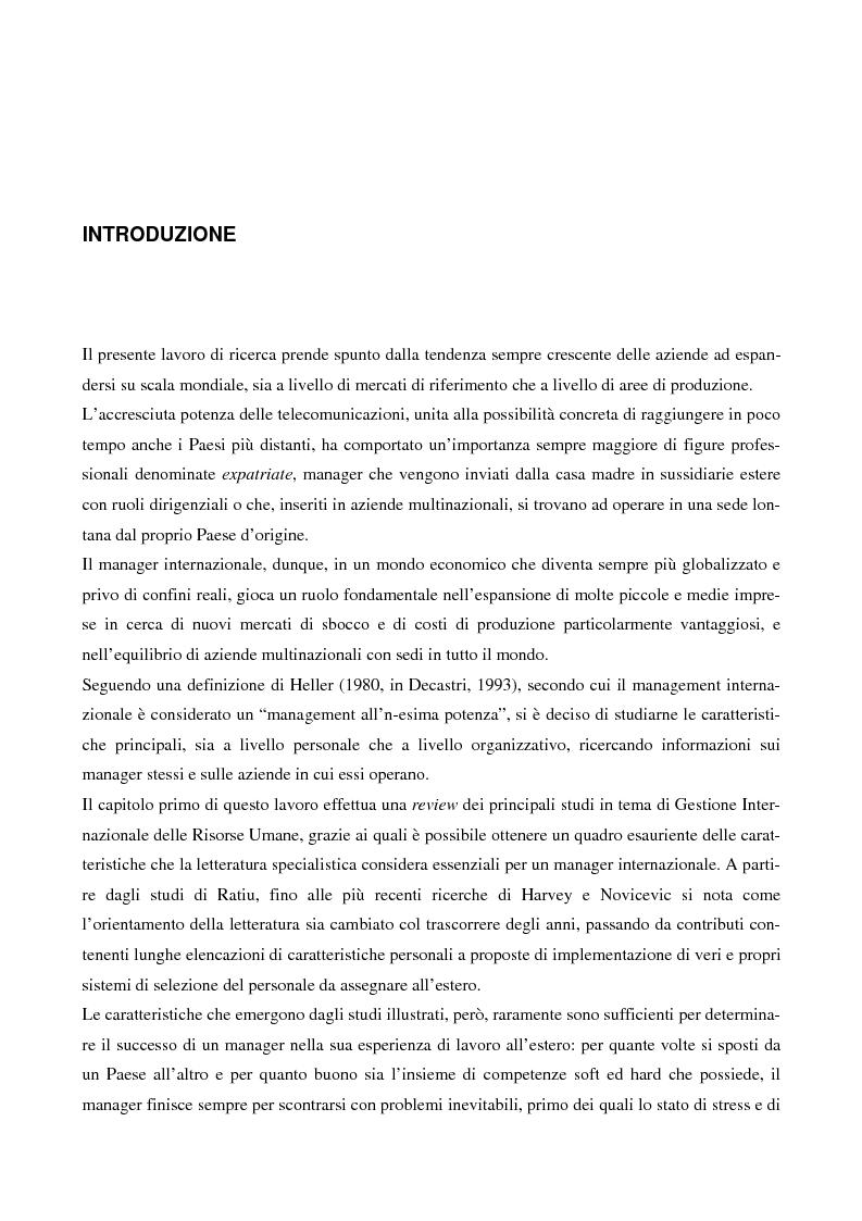 Anteprima della tesi: Carriere Manageriali Internazionali: Fattori Individuali e Organizzativi, Pagina 1