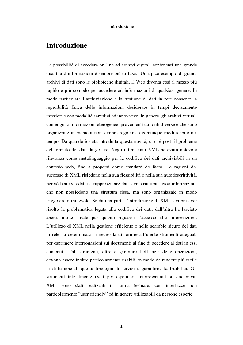 Anteprima della tesi: Un'interfaccia per il supporto all'interrogazione efficace di documenti XML: introduzione di preferenze utente in XPATH, Pagina 1
