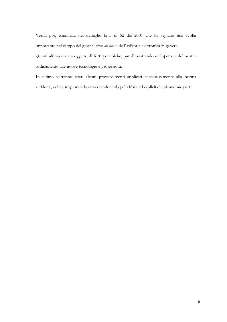 Anteprima della tesi: Disciplina delle pubblicazioni on line. La legge 7 marzo 2001 n. 62, Pagina 3