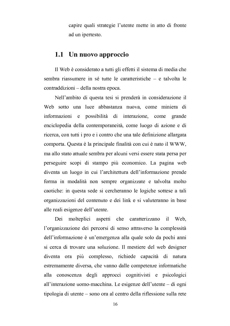 Anteprima della tesi: Cercare e trovare informazioni in Rete. Architettura delle informazioni e narratività, Pagina 12