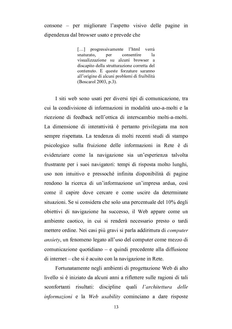 Anteprima della tesi: Cercare e trovare informazioni in Rete. Architettura delle informazioni e narratività, Pagina 9