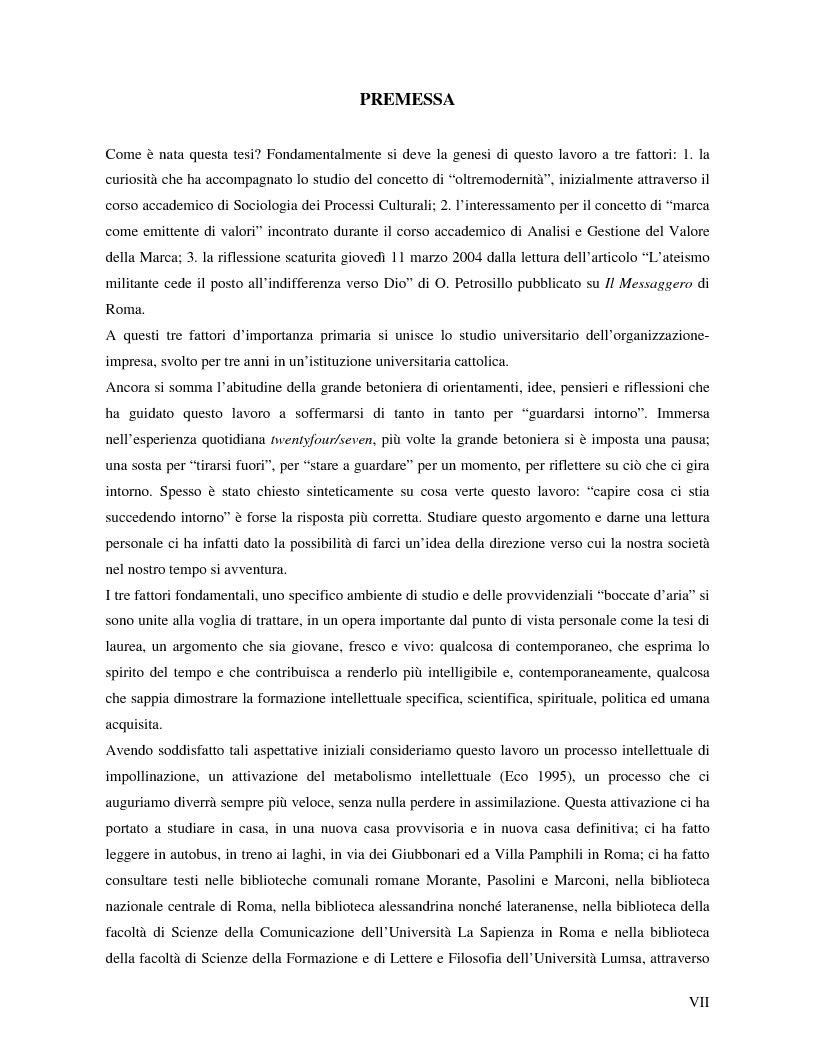 Anteprima della tesi: Marche e tessuto sociale: un approccio interdisciplinare. Dall'analisi dei valori di marca, all'ipotesi di una successione postmoderna delle istituzioni sociali., Pagina 1