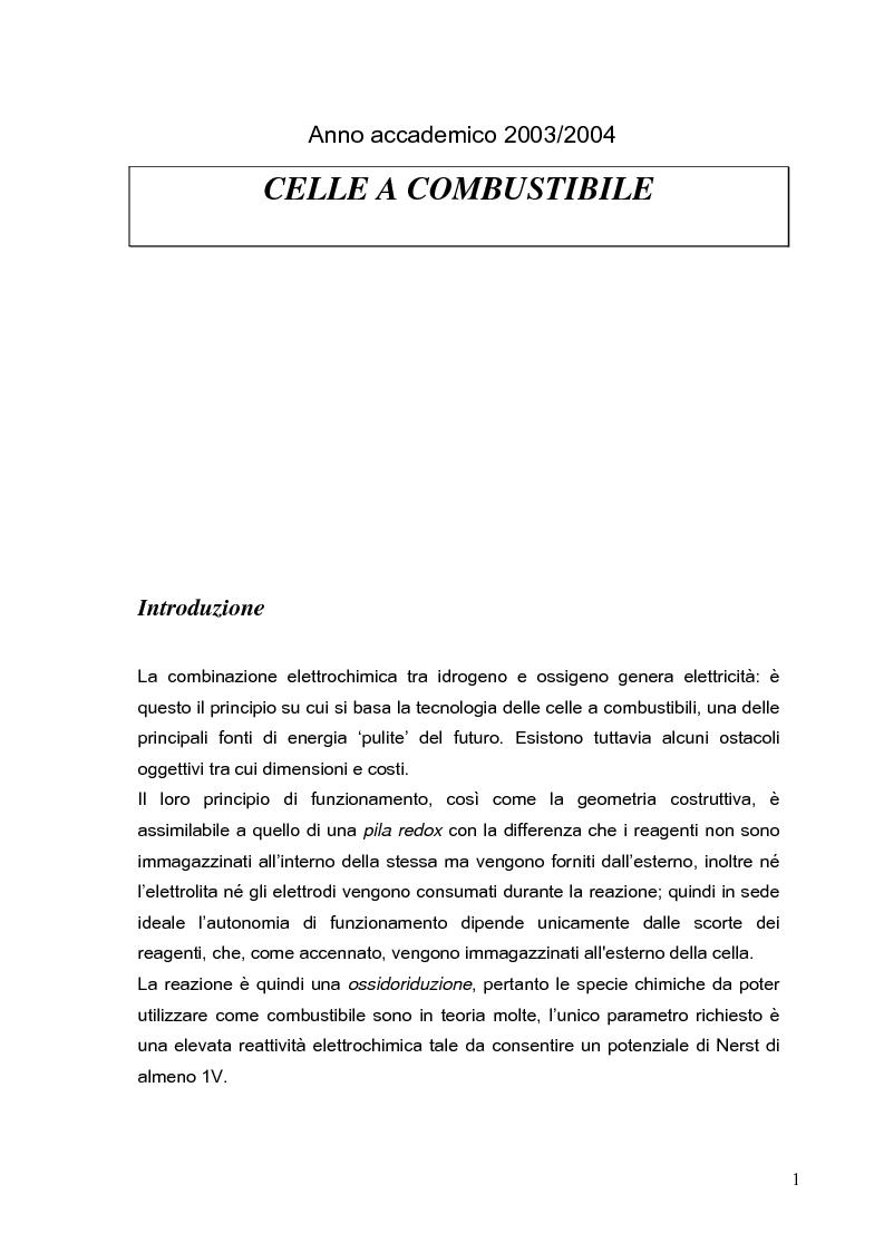 Anteprima della tesi: Tecniche di produzione dell'elettrolita nelle celle ad ossidi solidi SOFC, Pagina 1