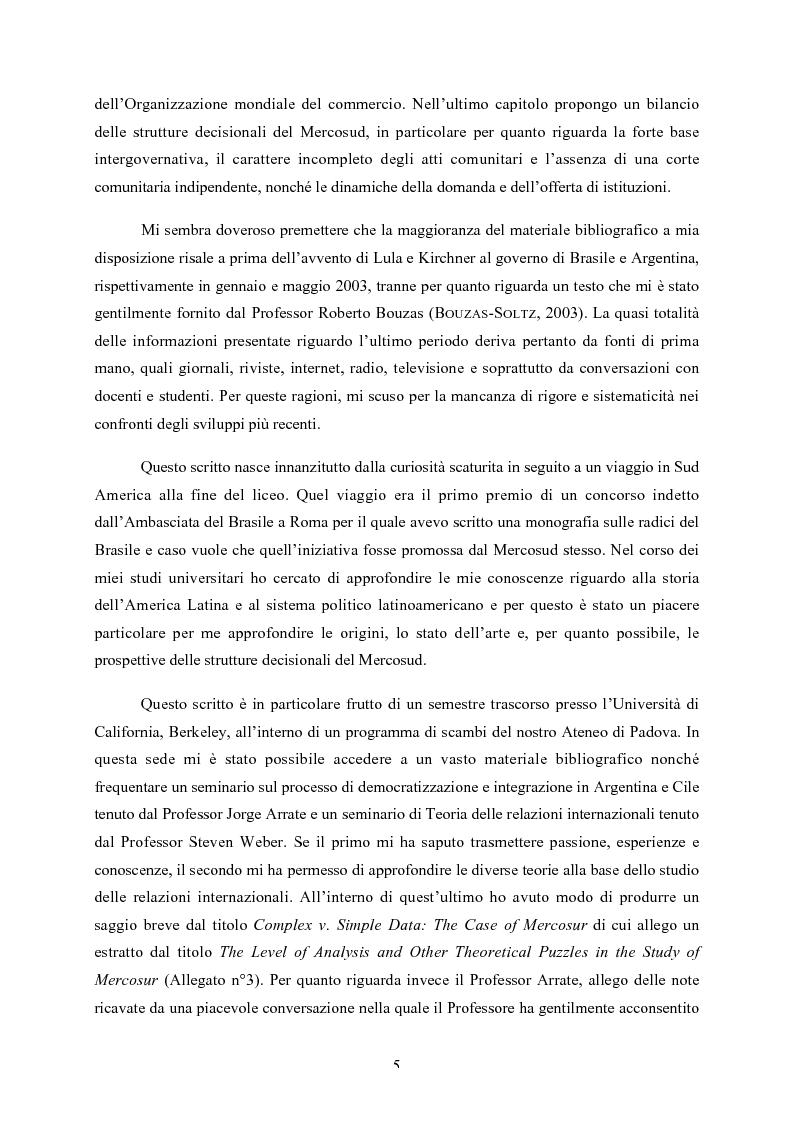 Anteprima della tesi: Le strutture decisionali del Mercosud, Pagina 2