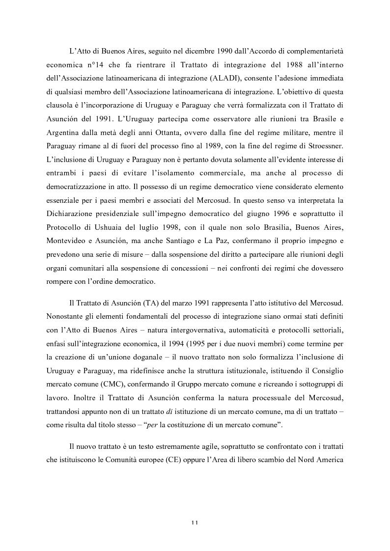 Anteprima della tesi: Le strutture decisionali del Mercosud, Pagina 7