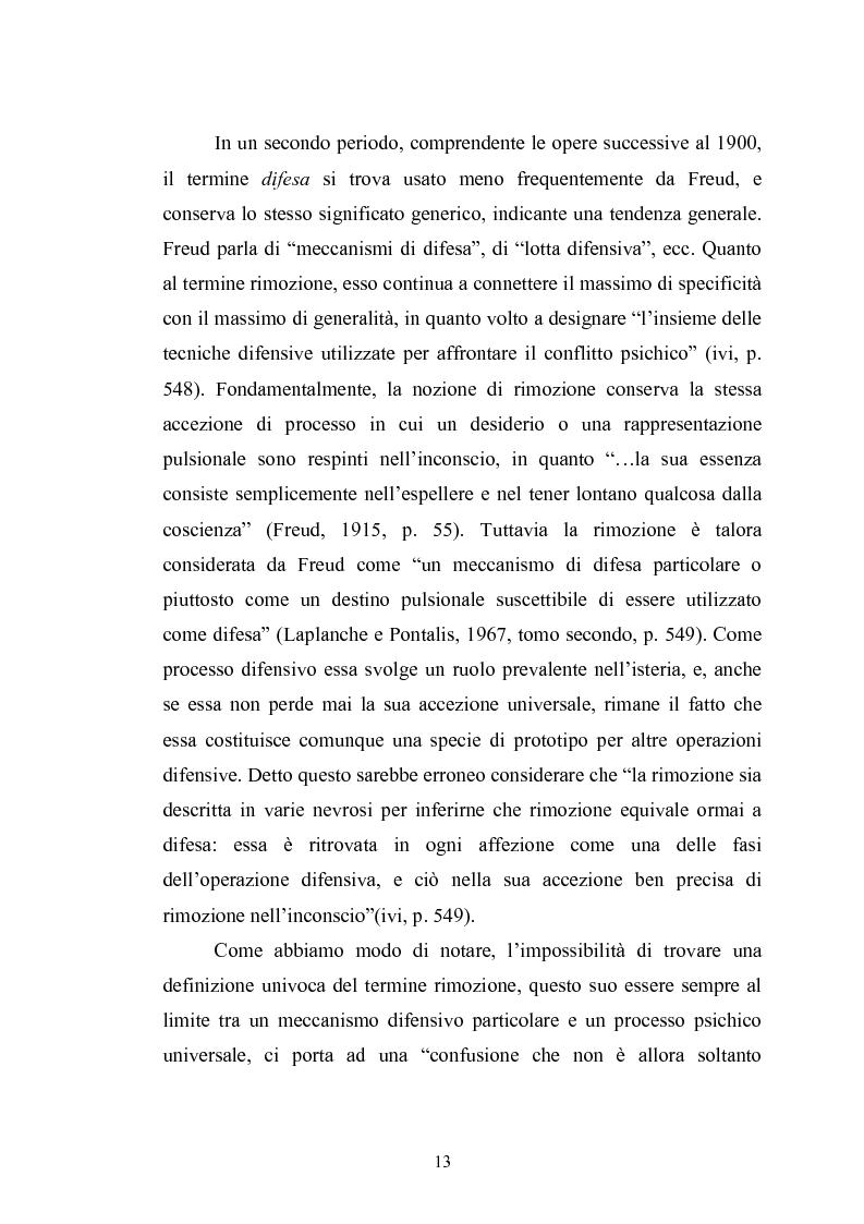 Anteprima della tesi: Il meccanismo della rimozione nella vita psichica - Sue connessioni con la scissione nella psicoanalisi delle psicosi, Pagina 10