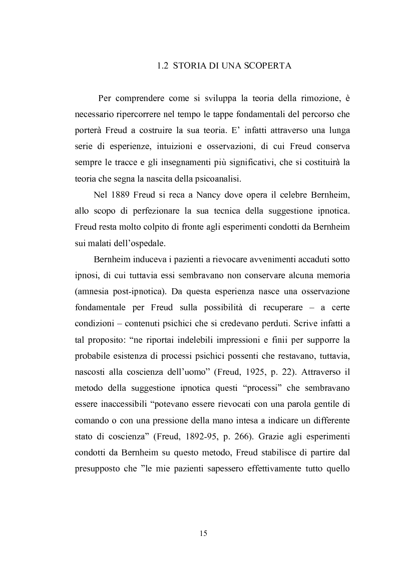 Anteprima della tesi: Il meccanismo della rimozione nella vita psichica - Sue connessioni con la scissione nella psicoanalisi delle psicosi, Pagina 12