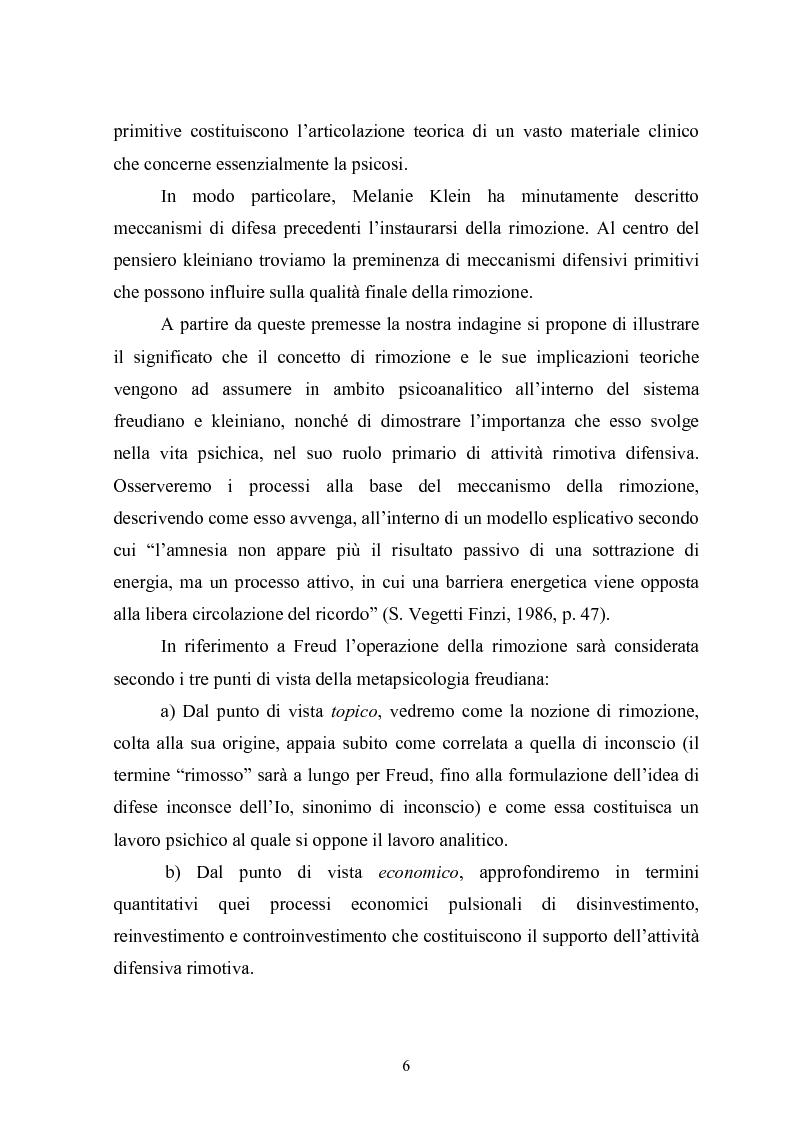 Anteprima della tesi: Il meccanismo della rimozione nella vita psichica - Sue connessioni con la scissione nella psicoanalisi delle psicosi, Pagina 3