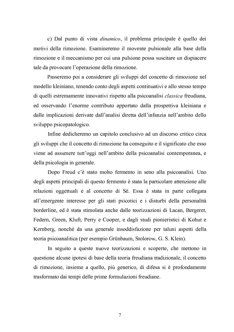 Anteprima della tesi: Il meccanismo della rimozione nella vita psichica - Sue connessioni con la scissione nella psicoanalisi delle psicosi, Pagina 4