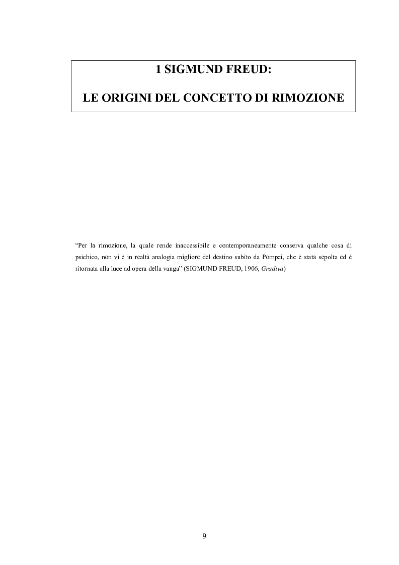 Anteprima della tesi: Il meccanismo della rimozione nella vita psichica - Sue connessioni con la scissione nella psicoanalisi delle psicosi, Pagina 6