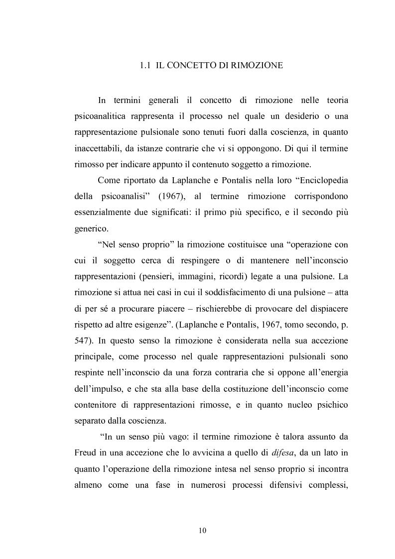 Anteprima della tesi: Il meccanismo della rimozione nella vita psichica - Sue connessioni con la scissione nella psicoanalisi delle psicosi, Pagina 7