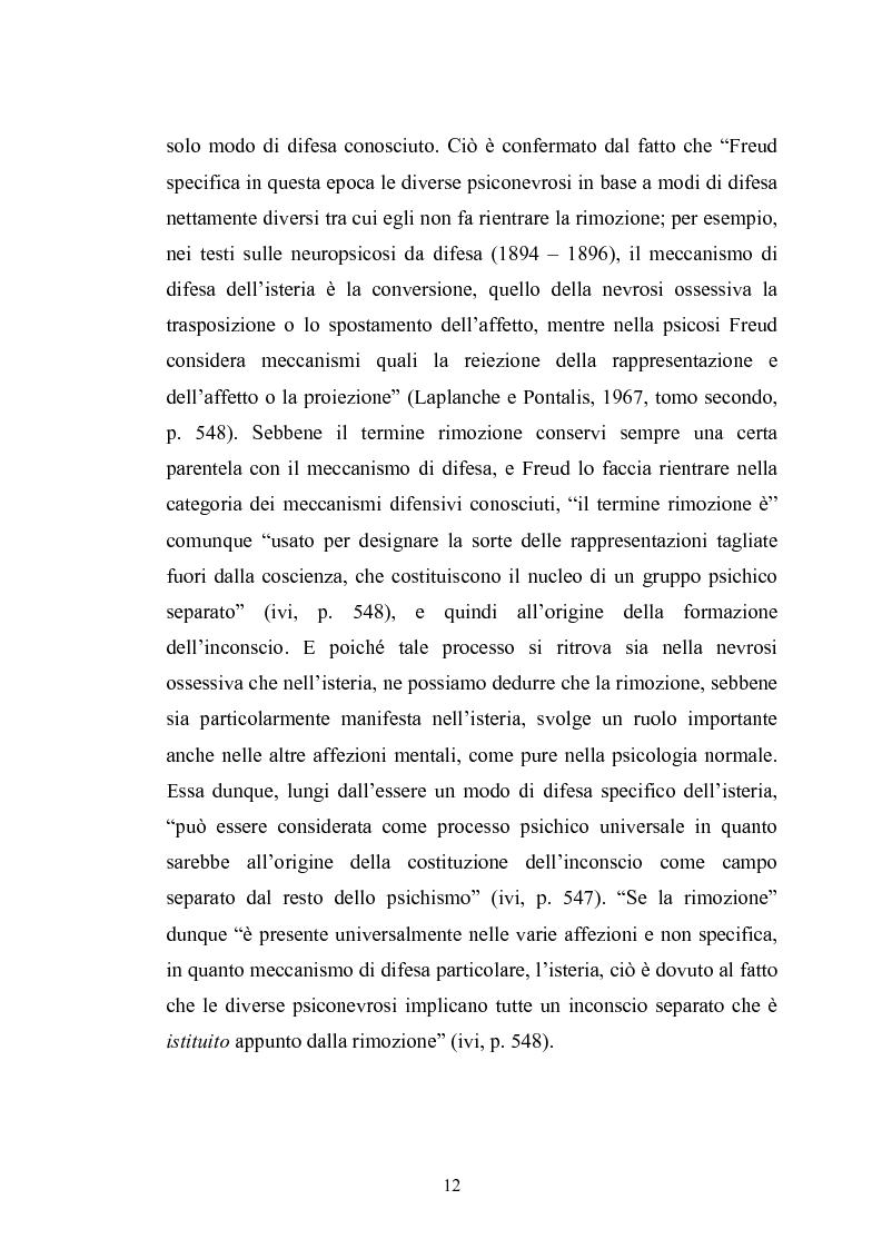 Anteprima della tesi: Il meccanismo della rimozione nella vita psichica - Sue connessioni con la scissione nella psicoanalisi delle psicosi, Pagina 9