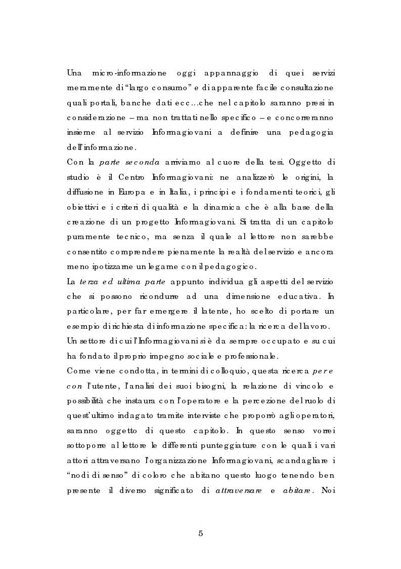 Anteprima della tesi: L' esperienza dell' Informagiovani . Una lettura pedagogica., Pagina 3