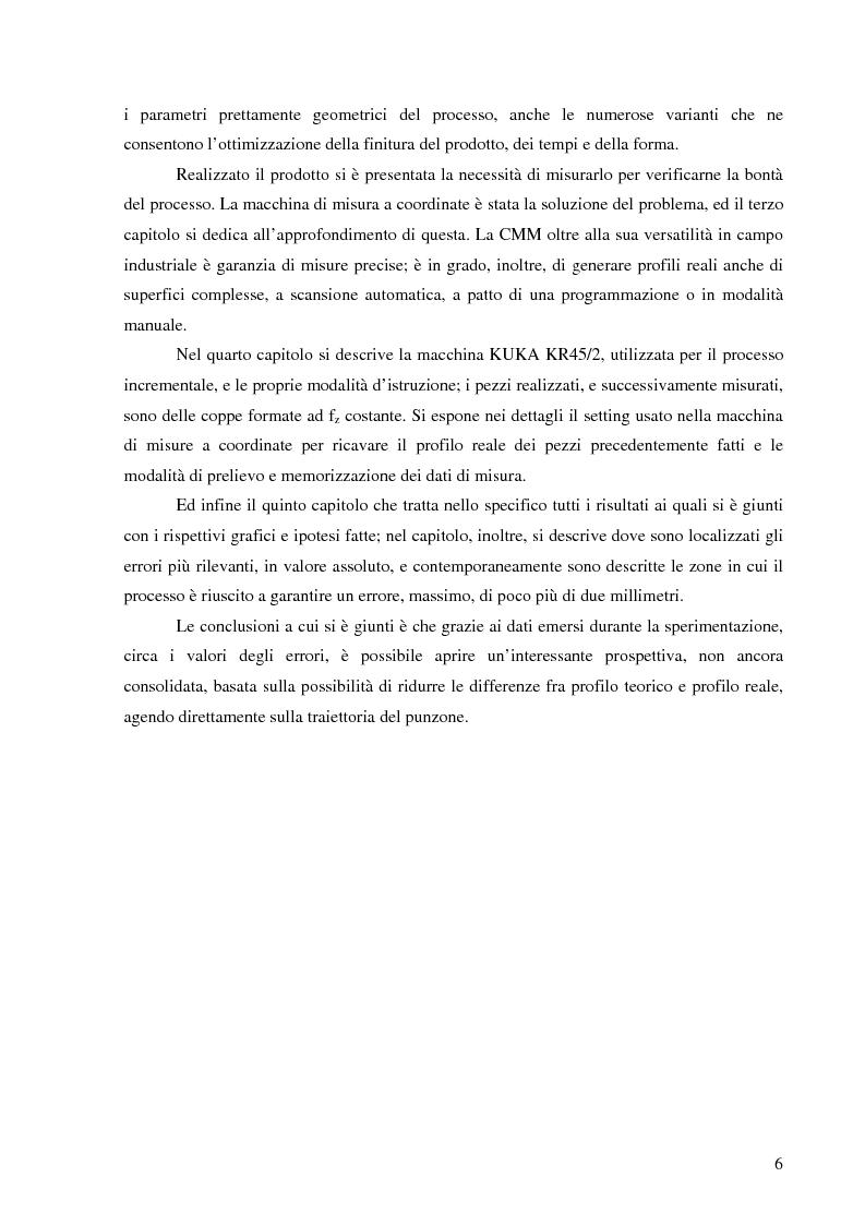 Anteprima della tesi: Studio della accuratezza dimensionale del processo di formatura incrementale tramite macchina di misura a coordinate, Pagina 2