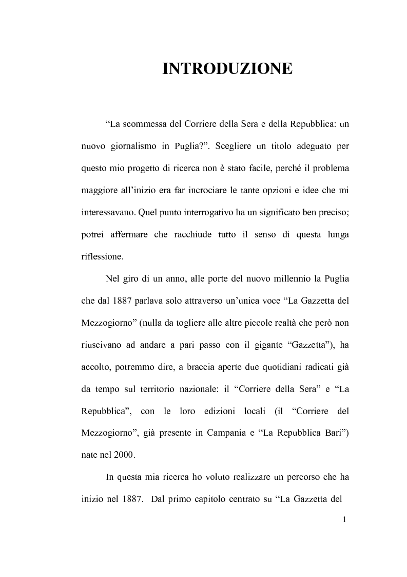 """Anteprima della tesi: La scommessa de """"La Repubblica"""" e del """"Corriere della Sera"""": Un nuovo giornalismo in Puglia?, Pagina 1"""