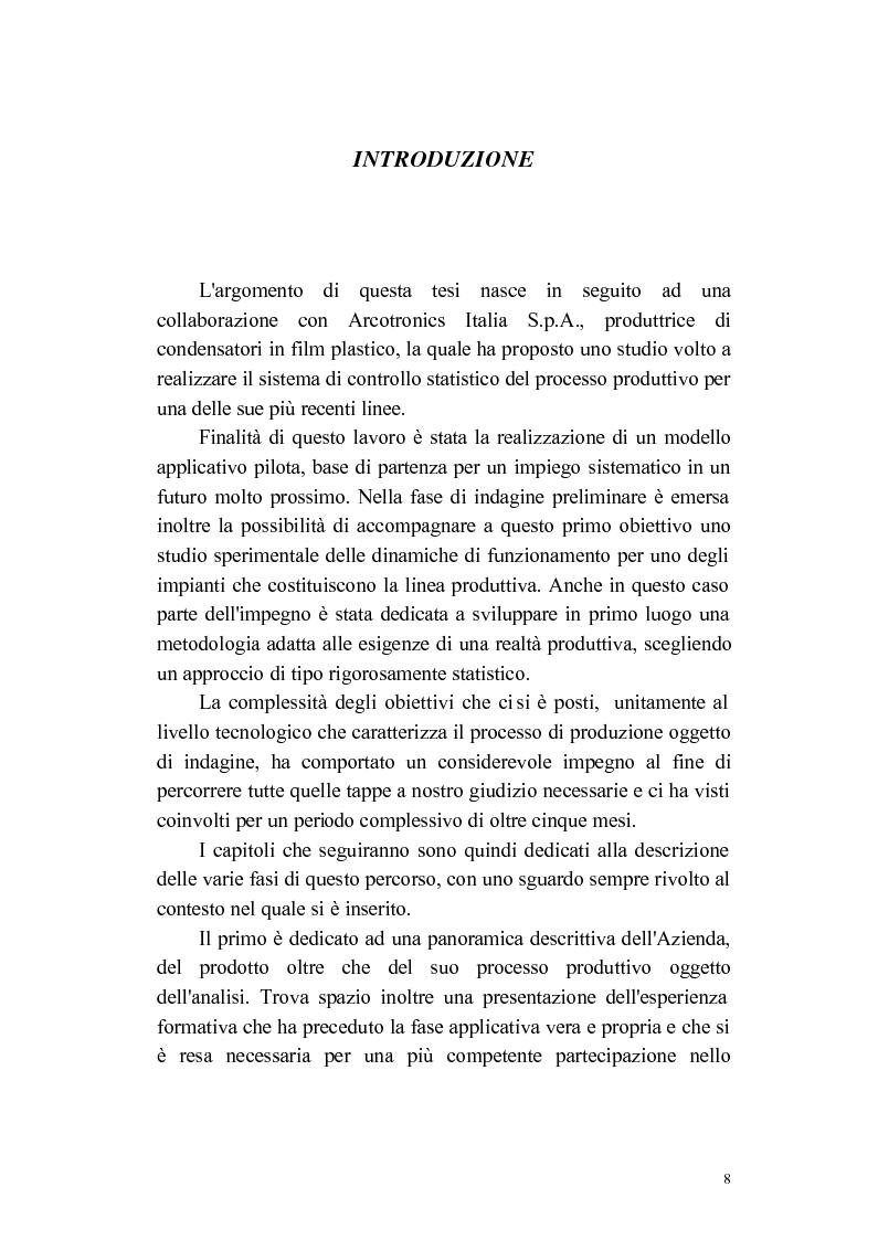 Anteprima della tesi: Progettazione e applicazione di un sistema di controllo in una linea produttiva di componenti elettronici, Pagina 1