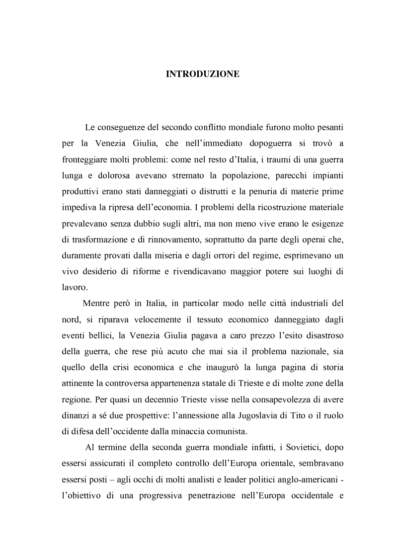Anteprima della tesi: Il problema dell'unità sindacale a Trieste nell'immediato dopoguerra (1945 - 1947). L'esperienza della Commissione Centrale di Intesa Sindacale., Pagina 1