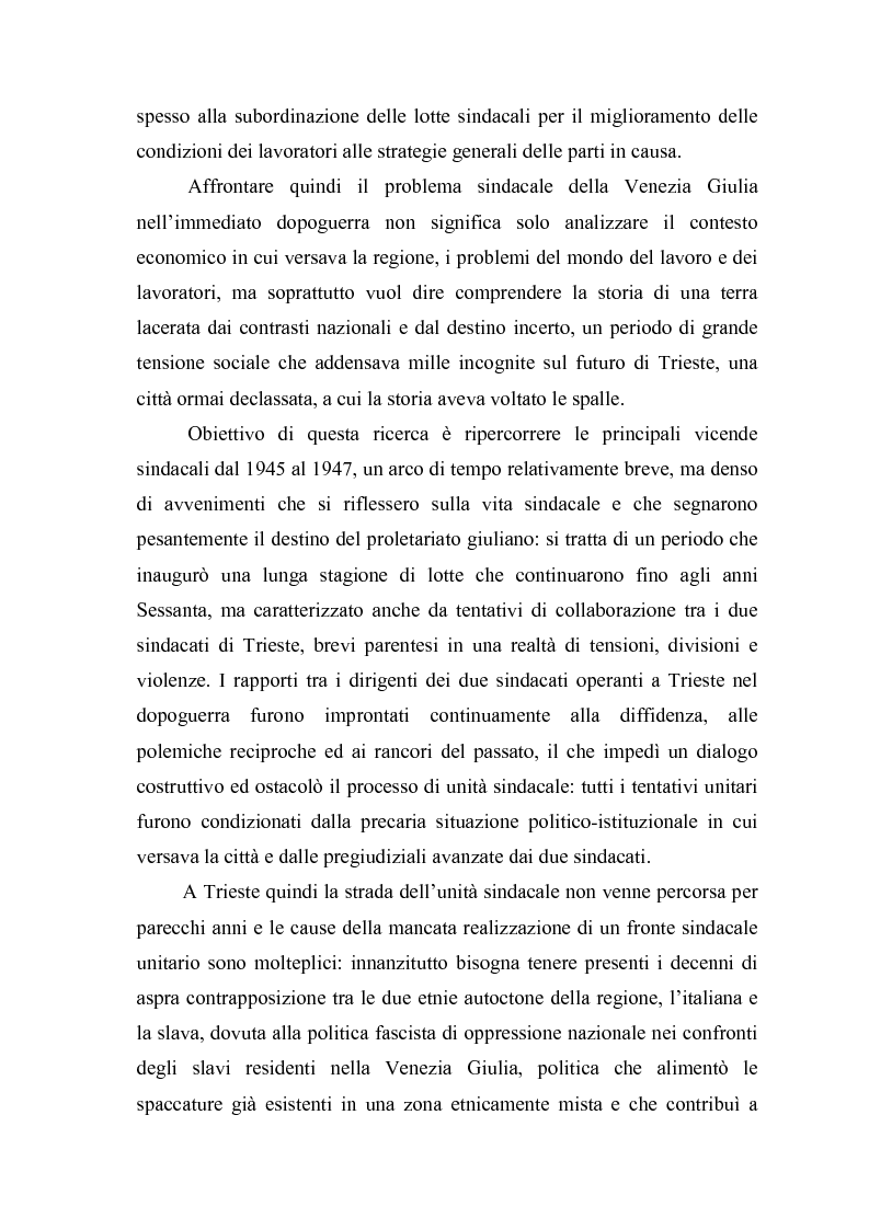 Anteprima della tesi: Il problema dell'unità sindacale a Trieste nell'immediato dopoguerra (1945 - 1947). L'esperienza della Commissione Centrale di Intesa Sindacale., Pagina 3