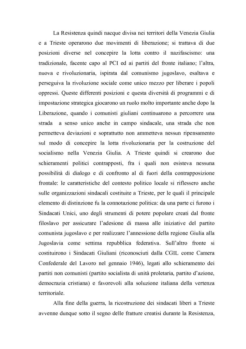 Anteprima della tesi: Il problema dell'unità sindacale a Trieste nell'immediato dopoguerra (1945 - 1947). L'esperienza della Commissione Centrale di Intesa Sindacale., Pagina 5