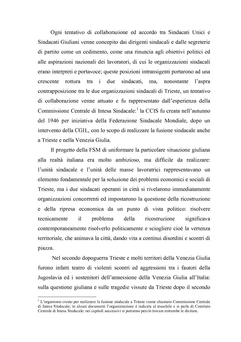 Anteprima della tesi: Il problema dell'unità sindacale a Trieste nell'immediato dopoguerra (1945 - 1947). L'esperienza della Commissione Centrale di Intesa Sindacale., Pagina 8