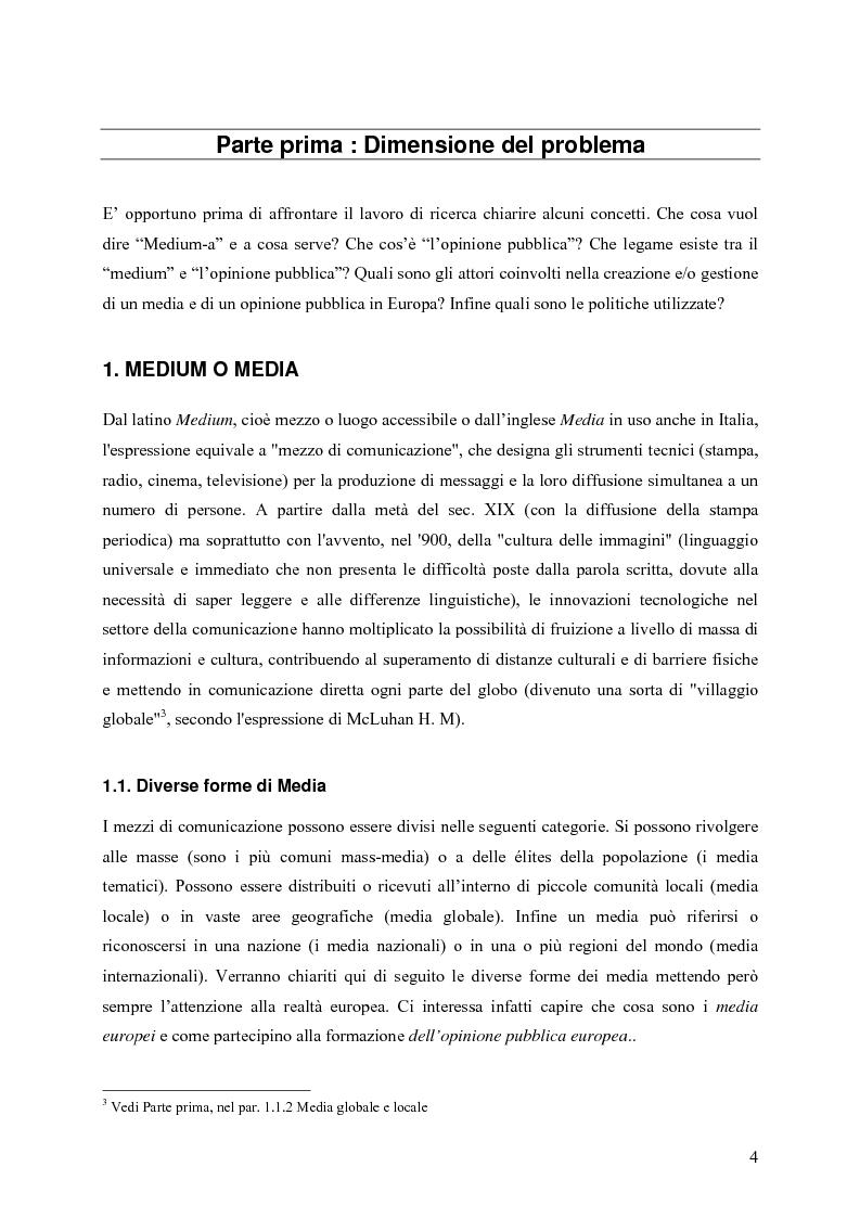 Anteprima della tesi: Un Medium Europeo per un opinione pubblica Europea, Pagina 2