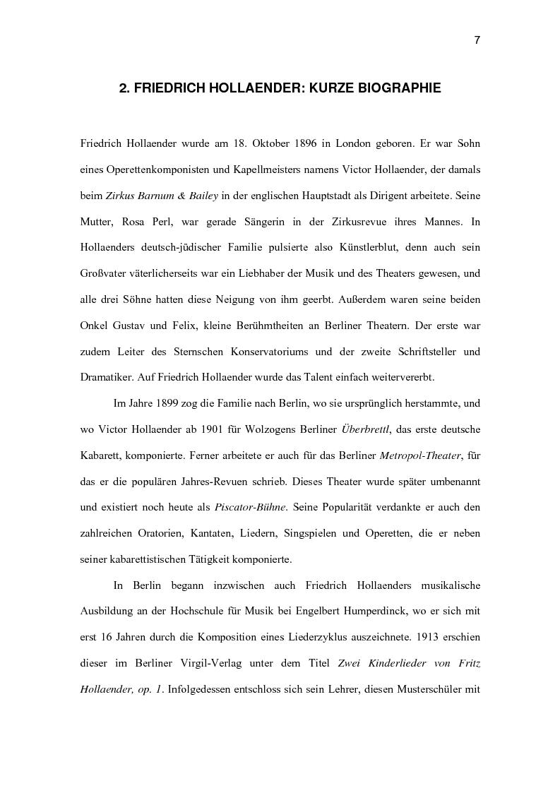 Anteprima della tesi: Friedrich Hollaender : Das deutsche Kabarett vor und nach dem zweiten Weltkrieg, Pagina 3