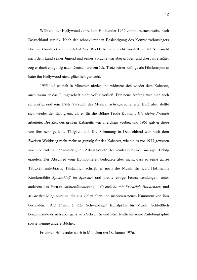 Anteprima della tesi: Friedrich Hollaender : Das deutsche Kabarett vor und nach dem zweiten Weltkrieg, Pagina 8