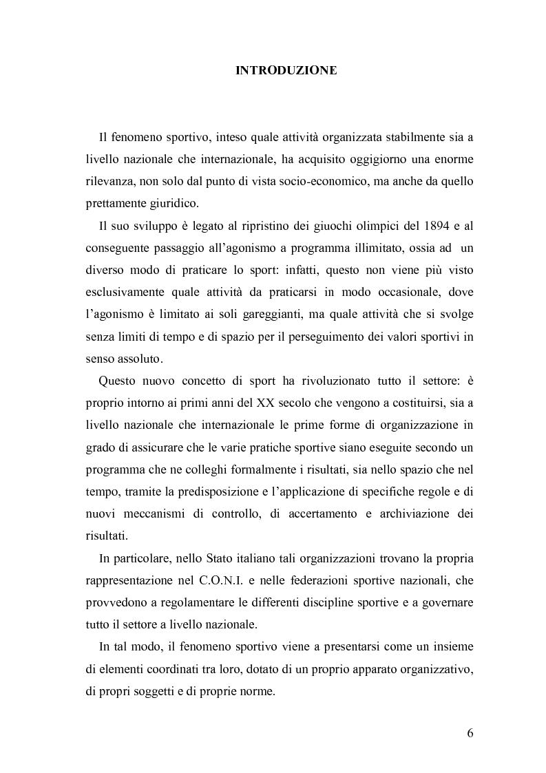 Anteprima della tesi: Il fenomeno sportivo nello Stato italiano tra la teoria pluralistico-ordinamentale e l'impostazione statualistica, Pagina 1